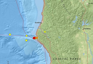 Ten earthquakes strike the coast of Northern California in less than 24 hours