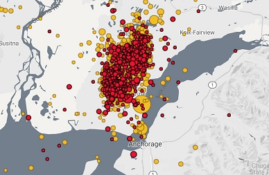 Some 1,800 aftershocks have been measured since Friday's 7.0 earthquake in Alaska