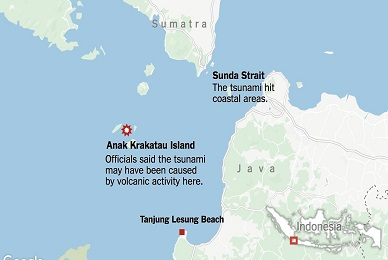 Pictures and videos of volcanic tsunami in Indonesia